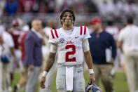 Mississippi quarterback Matt Corral (2) walks off the field after a 42-21 loss to Alabama during the second half of an NCAA college football game, Saturday, Oct. 2, 2021, in Tuscaloosa, Ala. (AP Photo/Vasha Hunt)