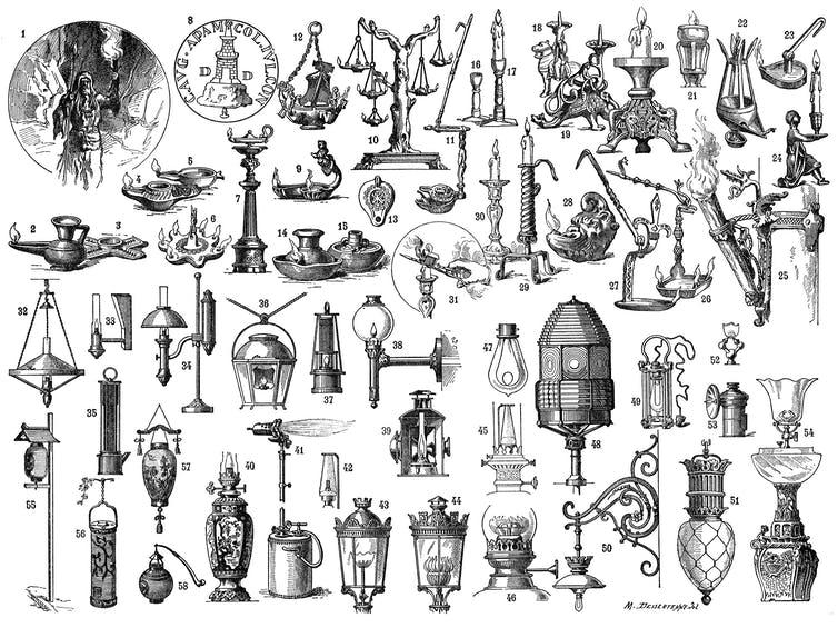 Drawings of historical lighting devices.