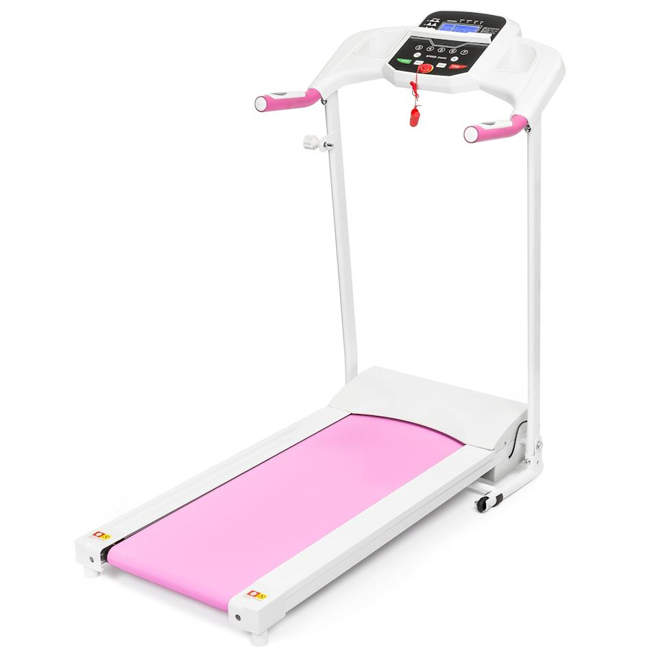 "<p>The exercise enthusiast will fall in love with this pink <product href=""https://www.walmart.com/ip/Best-Choice-Products-800W-Portable-Folding-Electric-Motorized-Treadmill-Machine-w-Rolling-Wheels-Pink/984127010?selected=true"" target=""_blank"" class=""ga-track"" data-ga-category=""internal click"" data-ga-label=""https://www.walmart.com/ip/Best-Choice-Products-800W-Portable-Folding-Electric-Motorized-Treadmill-Machine-w-Rolling-Wheels-Pink/984127010?selected=true"" data-ga-action=""body text link"">Best Choice Product Portable Folding Electric Motorized Treadmill Machine</product> ($250, originally $400).</p>"