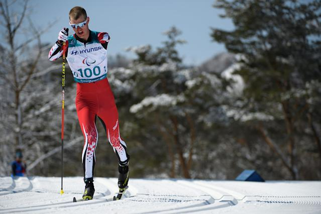 Mark Arendz of Canada competes during the Cross Country Skiing Men's Standing 10km Classic at the Alpensia Biathlon Centre. The Paralympic Winter Games, PyeongChang, South Korea, Saturday 17th March 2018. OIS/IOC/Thomas Lovelock/Handout via Reuters