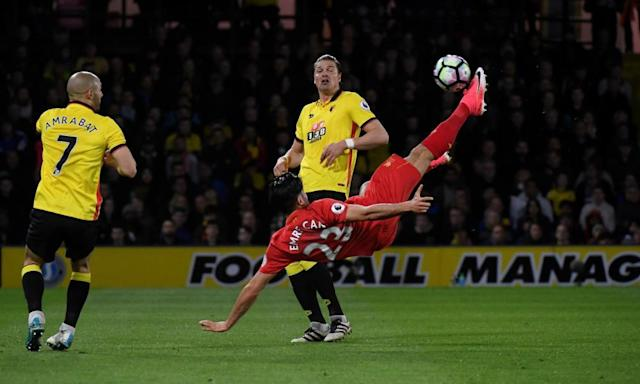"""<span class=""""element-image__caption"""">Emre Can scores Liverpool's goal with an overhead kick just before half-time which was enough to beat Watford.</span> <span class=""""element-image__credit"""">Photograph: Toby Melville/Reuters</span>"""