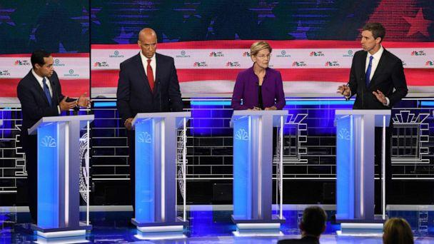 PHOTO: Julian Castro, Cory Booker, Elizabeth Warren and Beto O'Rourke participate in the first Democratic primary debate hosted by NBC News at the Adrienne Arsht Center for the Performing Arts in Miami, Florida, June 26, 2019. (Jim Watson/AFP/Getty Images)