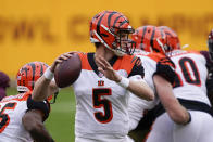 Cincinnati Bengals quarterback Ryan Finley (5) pass the ball during the second half of an NFL football game against the Washington Football Team, Sunday, Nov. 22, 2020, in Landover. (AP Photo/Susan Walsh)
