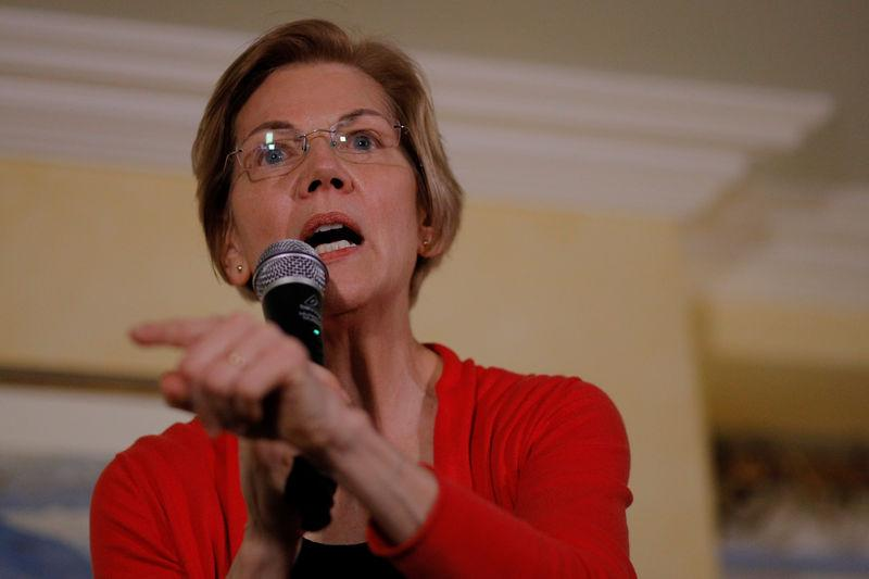 FILE PHOTO - Potential 2020 Democratic presidential candidate U.S. Senator Elizabeth Warren (D-MA) speaks at a house party in Concord, New Hampshire, U.S., January 12, 2019. REUTERS/Brian Snyder