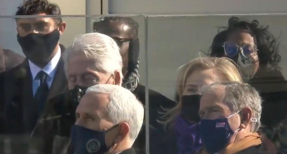 Bill Clinton appears to be falling asleep during Joe Biden's address. Source: Twitter