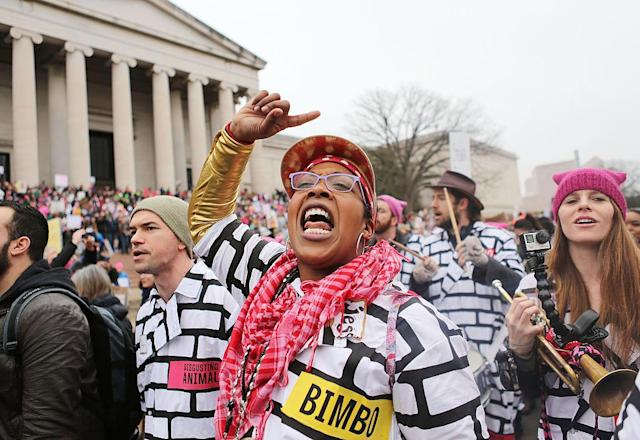 A woman chants while attending the Women's March on Washington on Jan. 21, 2017, in Washington, D.C. This year's lineup of events will be a bit different. (Photo: Mario Tama/Getty Images)