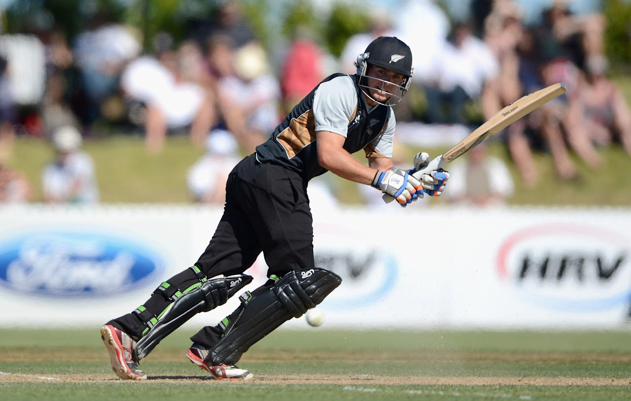 WHANGAREI, NEW ZEALAND - FEBRUARY 06:  Tom Latham of a New Zealand XI bats during a T20 Practice Match between New Zealand XI and England at Cobham Oval on February 6, 2013 in Whangarei, New Zealand.  (Photo by Gareth Copley/Getty Images)