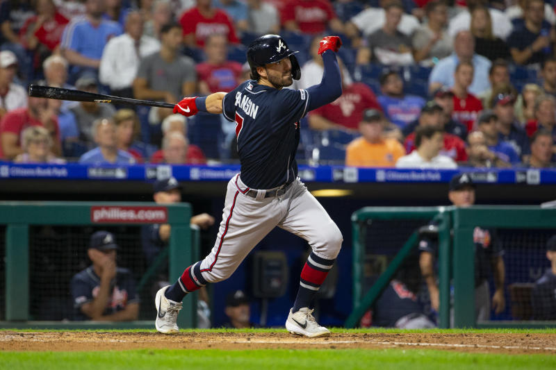 PHILADELPHIA, PA - SEPTEMBER 10: Dansby Swanson #7 of the Atlanta Braves bats against the Philadelphia Phillies at Citizens Bank Park on September 10, 2019 in Philadelphia, Pennsylvania. (Photo by Mitchell Leff/Getty Images)
