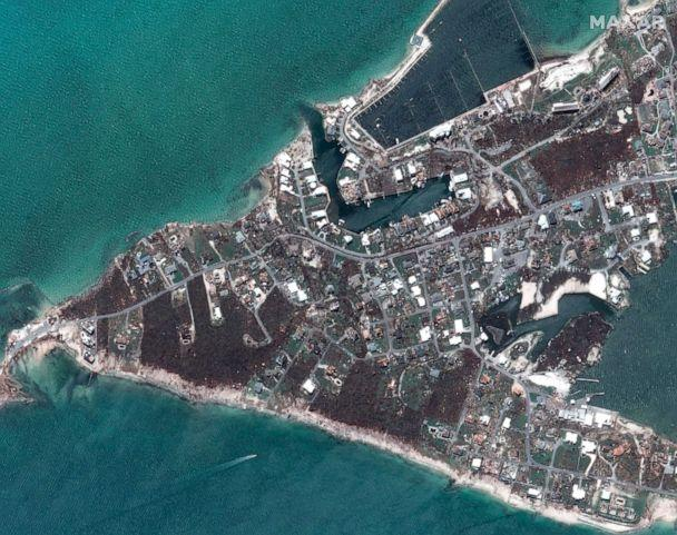 PHOTO: After Hurricane Dorian struck Marsh Harbor marinas on Great Abaco, Bahamas in a satellite photo taken Sept. 5, 2019. (Maxar Technologies via AP)