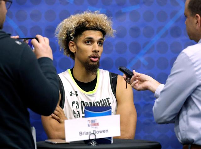 Brian Bowen speaks with the media during the second day of the NBA draft basketball combine in Chicago, Friday, May 17, 2019. (AP Photo/Nam Y. Huh)