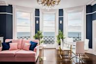 """<p>Like something out of an interiors magazine, this Airbnb in Brighton has all the swoon-worthy decor required for a glamorous few days by the sea. Set in a period building on the seafront, it's beautiful decor and jaw-dropping sea views give you one seriously impressive place to stay.</p><p><strong>Sleeps:</strong> Four</p><p><strong>Price per night:</strong> £458.00</p><p><strong>Why we like it:</strong> The colours, the textures, the design - this Airbnb is pure house goals </p><p><a class=""""link rapid-noclick-resp"""" href=""""https://airbnb.pvxt.net/3PPgNv"""" rel=""""nofollow noopener"""" target=""""_blank"""" data-ylk=""""slk:SEE INSIDE"""">SEE INSIDE</a></p>"""