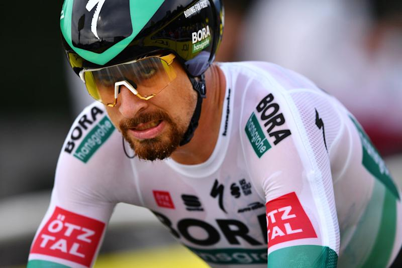LA PLANCHE FRANCE SEPTEMBER 19 Arrival Peter Sagan of Slovakia and Team Bora Hansgrohe during the 107th Tour de France 2020 Stage 20 a 362km Individual Time Trial stage from Lure to La Planche Des Belles Filles 1035m ITT TDF2020 LeTour on September 19 2020 in La Planche France Photo by Stuart FranklinGetty Images