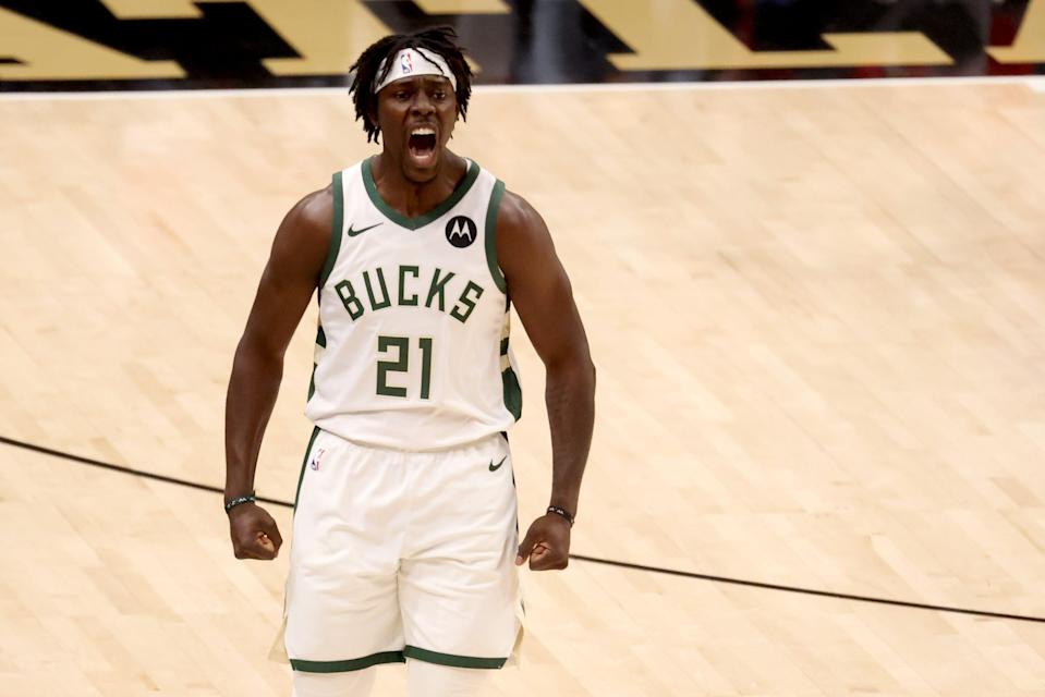 Milwaukee Bucks guard Jrue Holiday reacts after a basket during the first quarter of Game 6 against the Atlanta Hawks.