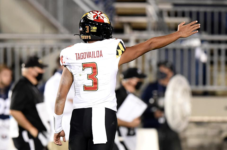 Maryland QB Taulia Tagovailoa has a ways to go, but he's not just Tua's little brother. (Photo by G Fiume/Maryland Terrapins/Getty Images)