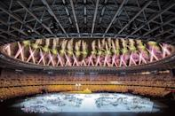 <p>Fireworks lit up the Tokyo National Stadium, which was — like for the Olympics — missing spectators, who were barred due to the coronavirus pandemic.</p>