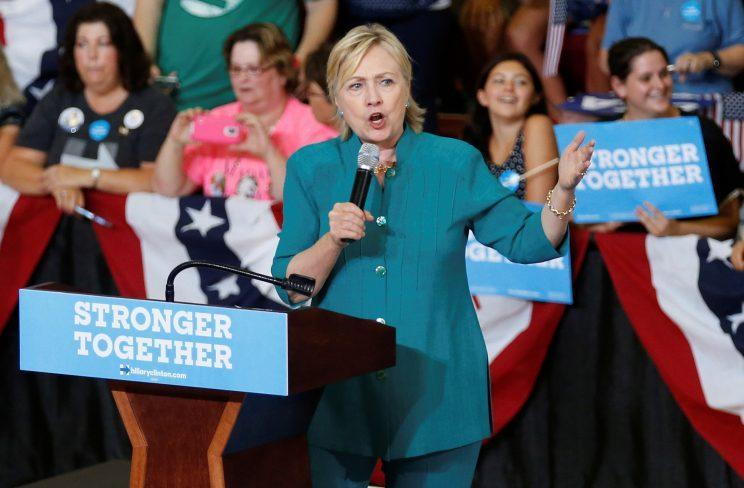 Hillary Clinton speaks during a rally in Des Moines, Iowa. (Photo: Chris Keane/Reuters)