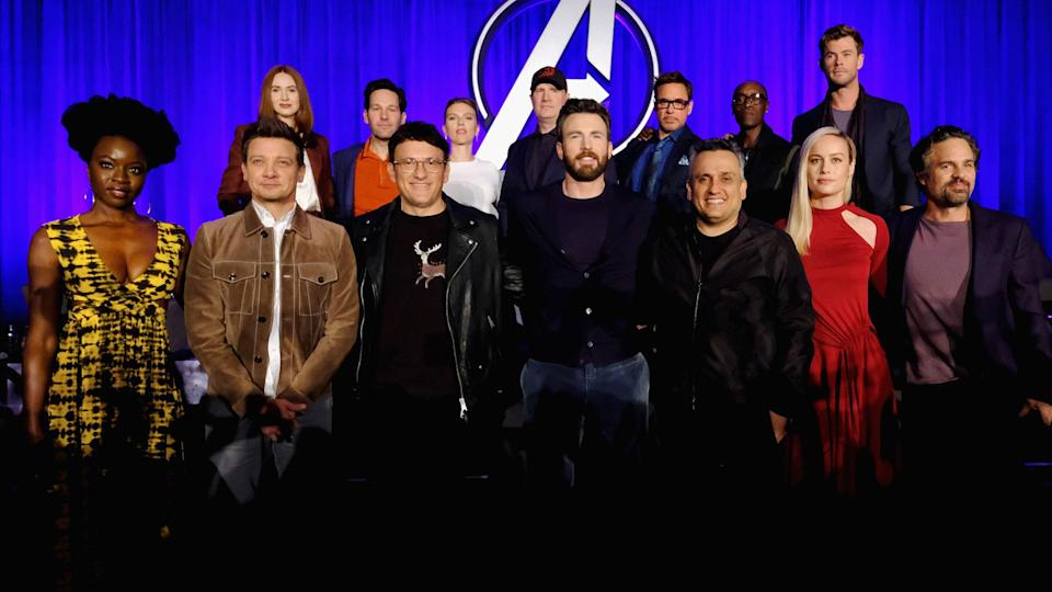 "LOS ANGELES, CA – APRIL 07: (front L-R) Danai Gurira, Jeremy Renner, Director Anthony Russo, Chris Evans, Director Joe Russo, Brie Larson and Mark Ruffalo, (back L-R) Karen Gillan, Paul Rudd, Scarlett Johansson, President of Marvel Studios/Producer Kevin Feige, Robert Downey Jr., Don Cheadle and Chris Hemsworth onstage during Marvel Studios' ""Avengers: Endgame"" Global Junket Press Conference at the InterContinental Los Angeles Downtown on April 7, 2019 in Los Angeles, California. (Photo by Alberto E. Rodriguez/Getty Images for Disney)"