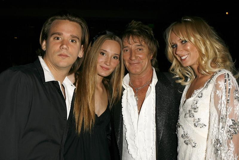 Rod Stewart (2nd from right), Sean Stewart (left), Ruby Stewart and Kimberly Stewart (right) (Photo by J. Vespa/WireImage for J Records)