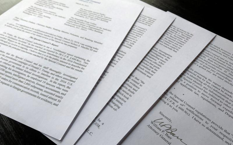 U.S. Attorney General William Barr's letter to U.S. congressional leaders on the Mueller Report is seen in Washington - REUTERS