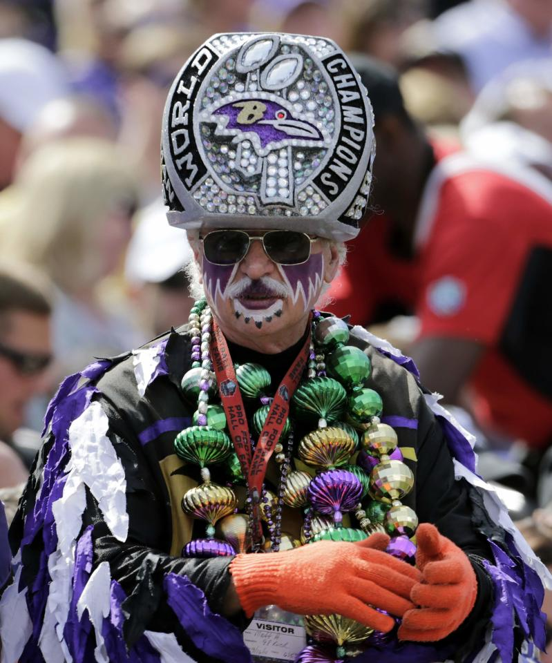 A 2012 Super Bowl champion Baltimore Ravens fan watches his team against the Cleveland Browns in the first half of their NFL football game in Baltimore September 15, 2013. REUTERS/Gary Cameron (UNITED STATES - Tags: SPORT FOOTBALL)