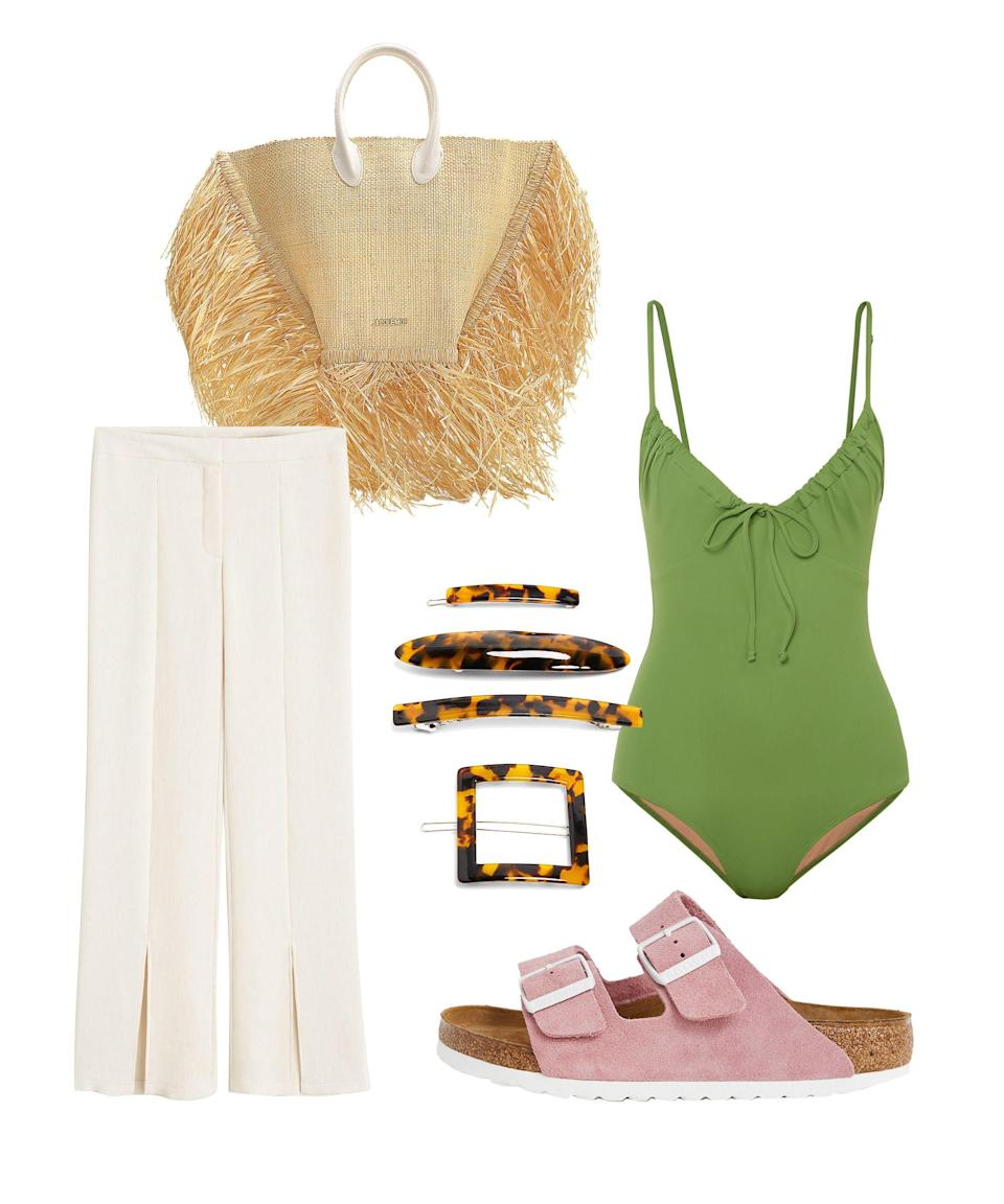 """<p>Green is the colour of the season, be it sage, lime, highlighter neon or pistachio. Go for this ruched Three Graces swimsuit and slit hem trousers that'll show off clashing pink Birkenstocks. Add the supersized Jacquemus bag that will outshine all other straw bags, and your summer stroll outfit is complete. Don't forget hair clips – they're one of SS19's key accessories trends, thanks to the likes of Simone Rocha and Versace.</p><br><br><strong>The Three Graces</strong> Cleo Ruched Swimsuit, $250, available at <a href=""""https://www.net-a-porter.com/gb/en/product/1153438/Three_Graces_London/cleo-ruched-swimsuit"""" rel=""""nofollow noopener"""" target=""""_blank"""" data-ylk=""""slk:Net-A-Porter"""" class=""""link rapid-noclick-resp"""">Net-A-Porter</a><br><br><strong>Jacquemus</strong> Le Baci Basket in Beige Raffia, $415, available at <a href=""""https://www.monnierfreres.com/uk-en/le-baci-bag-in-beige-raffia.html?"""" rel=""""nofollow noopener"""" target=""""_blank"""" data-ylk=""""slk:Monnier Freres"""" class=""""link rapid-noclick-resp"""">Monnier Freres</a><br><br><strong>Mango</strong> Slit Hem Trousers, $39.99, available at <a href=""""https://shop.mango.com/gb/women/trousers-straight/slit-hem-trousers_53021059.html"""" rel=""""nofollow noopener"""" target=""""_blank"""" data-ylk=""""slk:Mango"""" class=""""link rapid-noclick-resp"""">Mango</a><br><br><strong>Zara</strong> Acetate Hair Clips, $9.99, available at <a href=""""https://www.zara.com/uk/en/pack-of-acetate-hair-clips-p04736201.html"""" rel=""""nofollow noopener"""" target=""""_blank"""" data-ylk=""""slk:Zara"""" class=""""link rapid-noclick-resp"""">Zara</a>"""