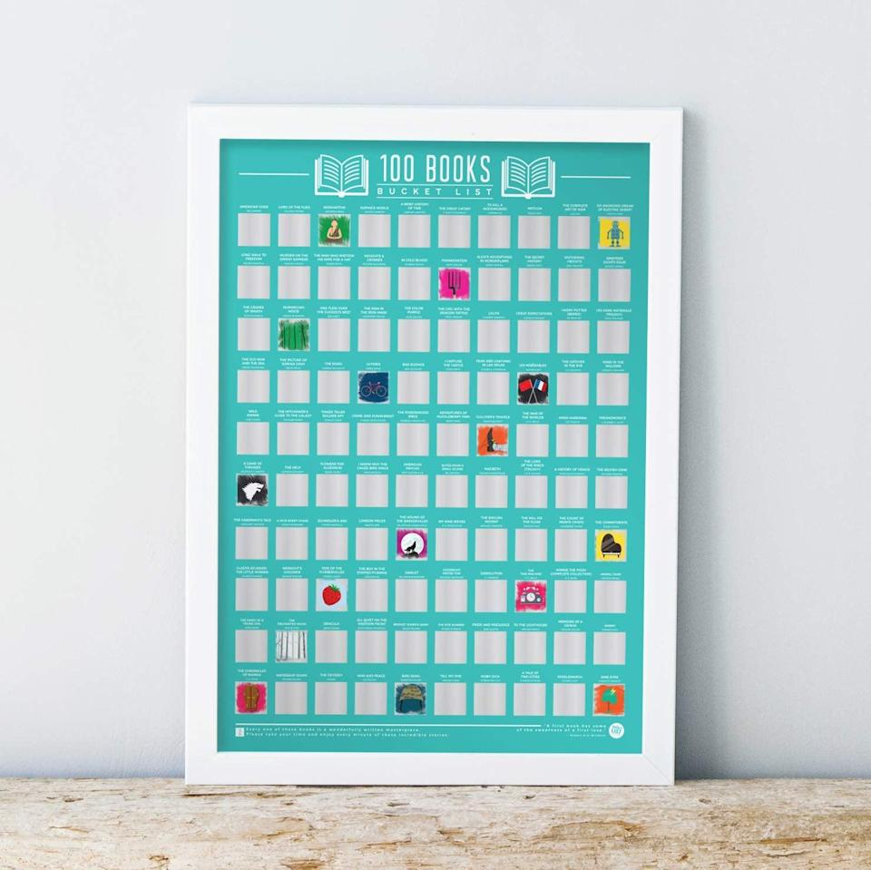 <p>Voracious readers will love checking titles off this <span>Gift Republic 100 Books Bucket List Poster</span> ($21).</p>