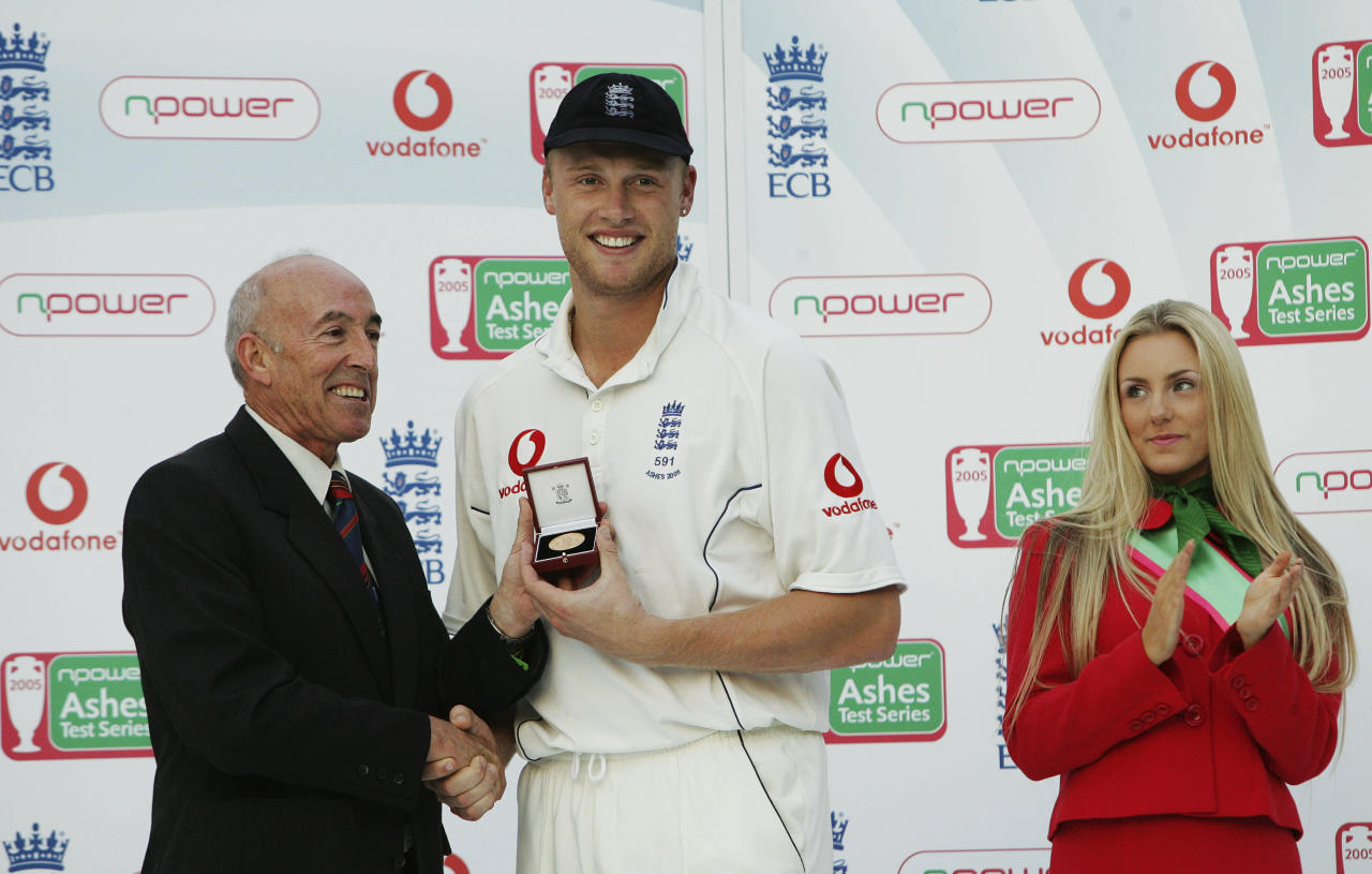 LONDON - SEPTEMBER 12:  England all rounder Andrew Freddie Flintoff is presented with the Compton-Miller medal awarded for Man of the Series after England regained the Ashes during day five of the Fifth npower Ashes Test match between England and Australia at the Brit Oval on September 12, 2005 in London, England. (Photo by Tom Shaw/Getty Images)