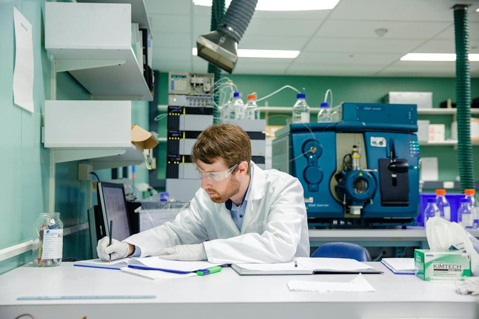 Pictured is Dr Jake O'Brien at work.