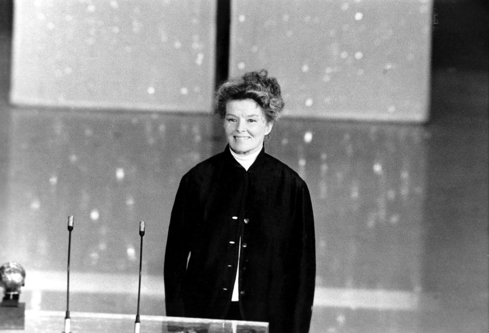 Katharine Hepburn addresses the 46th annual Academy Awards ceremony in Los Angeles, Ca., on April 2, 1974. (AP Photo)Actress Katharine Hepburn addresses the 46th annual Academy Awards ceremony in Los Angeles, Ca., on April 2, 1974.  It is the three-time Oscar winner's first appearance at the awards.  (AP Photo)