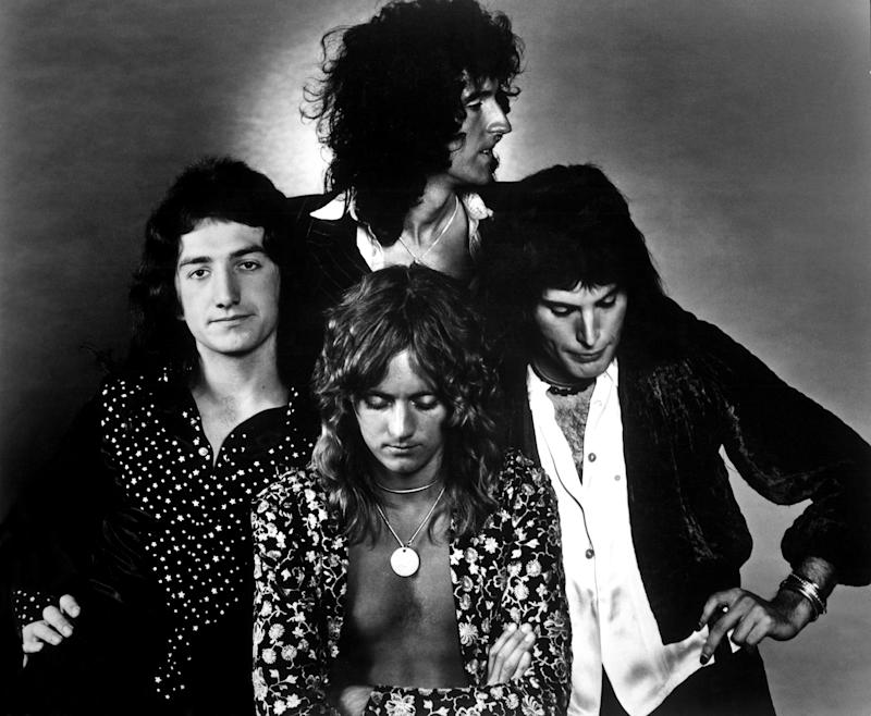 1975: British rock band Queen (clockwise from top: Brian May, Freddie Mercury, Roger Taylor and John Deacon pose for an Electra Records publicity still to promote their album 'A Night at the Opera' in 1975. (Photo by Michael Ochs Archives/Getty Images)