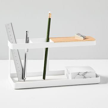 "<h2>Yamazaki Deskbar Accessory Storage</h2><br>A modern iteration of the classic Deskbar storage product. <br><br> Yamazaki Deskbar Accessory Storage, $, available at <a href=""https://go.skimresources.com/?id=30283X879131&url=https%3A%2F%2Fwww.westelm.com%2Fproducts%2Fdeskbar-accessory-storage-d6527%2F%3F"" rel=""nofollow noopener"" target=""_blank"" data-ylk=""slk:West Elm"" class=""link rapid-noclick-resp"">West Elm</a>"
