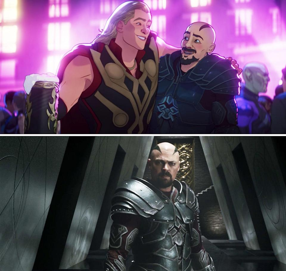 Animated Thor giving Skurge a hug; Skurge in the series