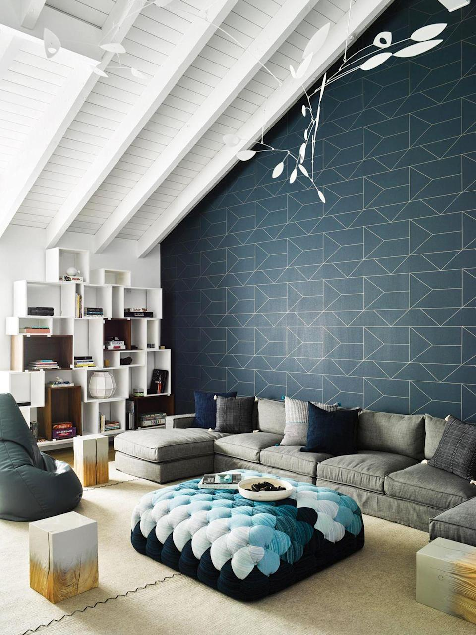 "<p>When the play space is also the media room, family room, and possibly even the living room, invest in staples that feel timeless—this neutral and spacious sectional in one of <a href=""https://www.nicolehollis.com/"" rel=""nofollow noopener"" target=""_blank"" data-ylk=""slk:NICOLEHOLLIS"" class=""link rapid-noclick-resp"">NICOLEHOLLIS</a>'s projects is perfect. Then choose decor (like lighting, and accent seats) that skew a little younger. Also, rounded, soft furniture is always a good idea if there are little ones around. </p>"