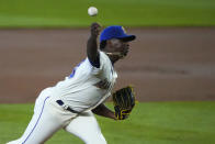 Seattle Mariners starting pitcher Justin Dunn throws against the Texas Rangers during the first inning of a baseball game, Sunday, Sept. 6, 2020, in Seattle. (AP Photo/Ted S. Warren)