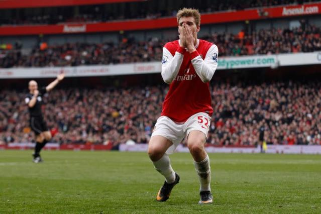 Arsenal's Bendtner reacts during their English Premier League soccer match against Sunderland at Emirates Stadium in London