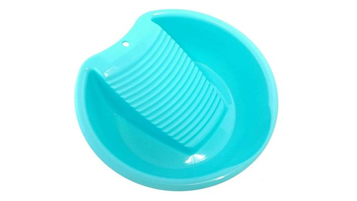This cheery bin makes it easy to wash small pieces of laundry in the sink.