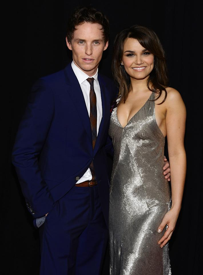 """NEW YORK, NY - DECEMBER 10: Eddie Redmayne and Samantha Barks attend the """"Les Miserables"""" New York premiere at Ziegfeld Theater on December 10, 2012 in New York City.  (Photo by Larry Busacca/Getty Images)"""
