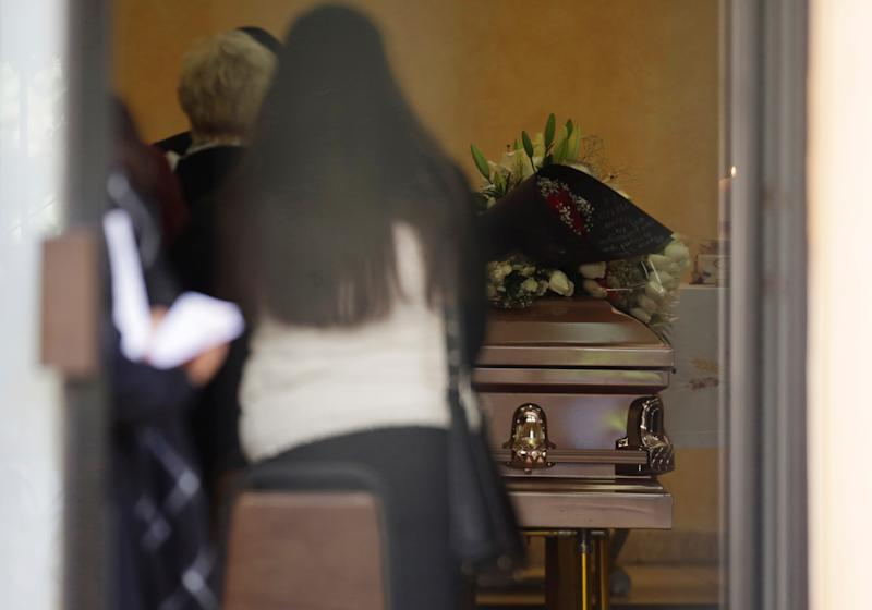 The coffin of teacher Maria Assaff, victim of a shooting in Colegio Cervantes private school in Torreon, is seen during hers funeral mass in Gomez Palacio, Mexico January 12, 2020. REUTERS/Daniel Becerril