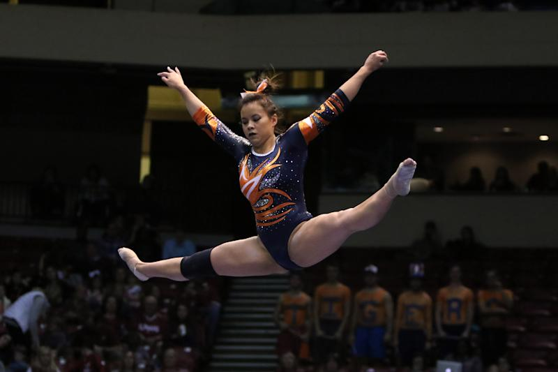 BIRMINGHAM, AL - JANUARY 29: Auburn Tigers Samantha Cerio performs on the balance beam at the Elevate the Stage Meet between the Auburn Tigers and the Alabama Crimson Tide. Alabama defeated Auburn by the score of 195.850 to 194.675 on January 29, 2017, at the Legacy Arena in Birmingham, Alabama. (Photo by Michael Wade/Icon Sportswire via Getty Images)