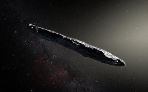 """<span class=""""caption"""">Artist's impression of the interstellar object.</span> <span class=""""attribution""""><a class=""""link rapid-noclick-resp"""" href=""""https://www.eso.org/public/images/eso1737a/"""" rel=""""nofollow noopener"""" target=""""_blank"""" data-ylk=""""slk:ESO/M. Kornmesser"""">ESO/M. Kornmesser</a>, <a class=""""link rapid-noclick-resp"""" href=""""http://creativecommons.org/licenses/by/4.0/"""" rel=""""nofollow noopener"""" target=""""_blank"""" data-ylk=""""slk:CC BY"""">CC BY</a></span>"""