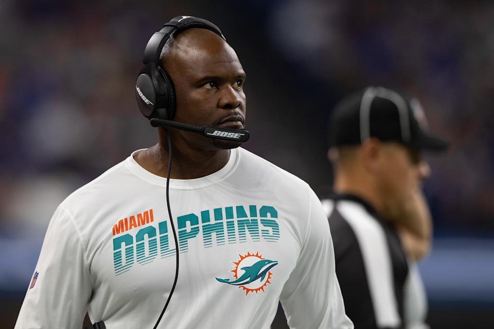 The standard for pass interference reviews has clearly changed, and Brian Flores was furious about it on Sunday. (Zach Bolinger/Icon Sportswire via Getty Images)