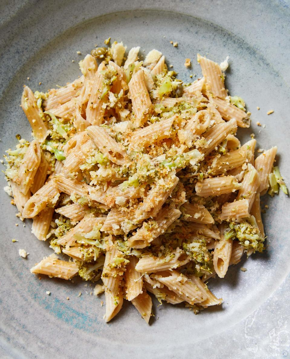"""Broccoli florets are often a ho-hum side. But <em>melted</em> broccoli is a sauce that's great with pasta, especially when topped with toasted bread crumbs. Feel free to spice it up with chile flakes if desired. <a href=""""https://www.epicurious.com/recipes/food/views/melted-broccoli-pasta-sheela-prakash?mbid=synd_yahoo_rss"""" rel=""""nofollow noopener"""" target=""""_blank"""" data-ylk=""""slk:See recipe."""" class=""""link rapid-noclick-resp"""">See recipe.</a>"""