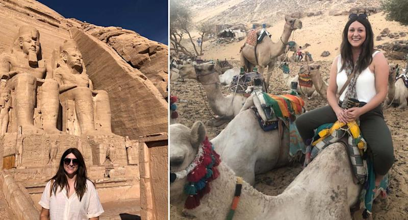 Brooke Crannaford pictured on her travels in Egypt.