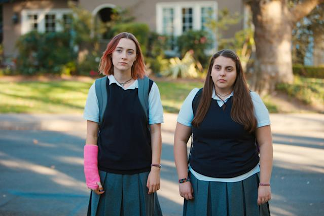 Beanie Feldstein, right, with Saoirse Ronan in <em>Lady Bird.</em> (Photo: A24/courtesy of Everett Collection)