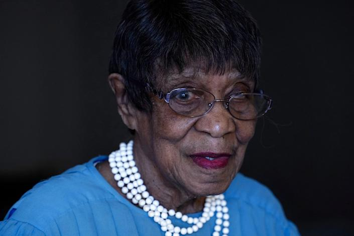 Talu Massey speaks about voting from her home in Detroit, Tuesday, Oct. 27, 2020.