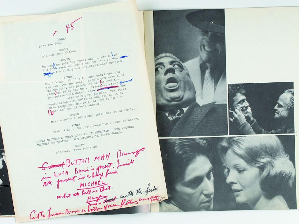 Puzo's own annotations scrawled on early screenplay drafts for director Francis Ford CoppolaRex Features