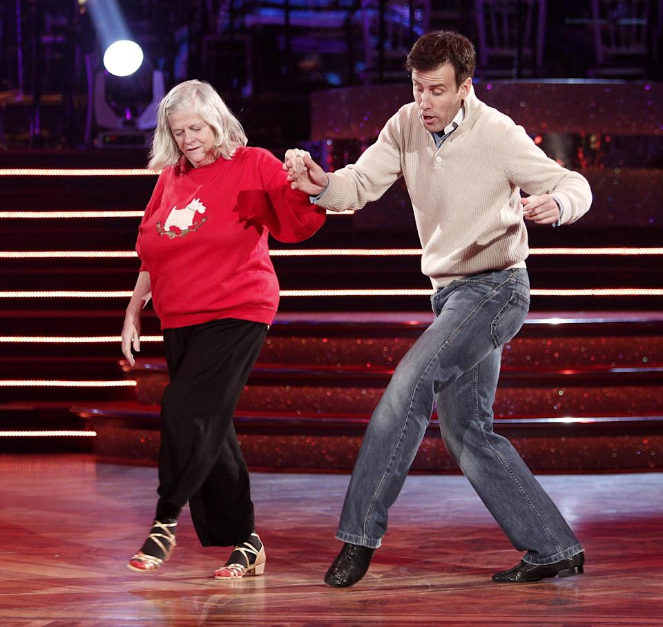 Ann Widdecombe and Anton du Beke go through their routine at Blackpool's Tower Ballroom for ahead of the Strictly Come Dancing show tomorrow.   (Photo by Peter Byrne/PA Images via Getty Images)