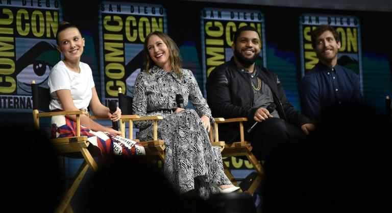 "(L-R) Millie Bobby Brown, Vera Farmiga, O'Shea Jackson Jr. and Michael Dougherty all appear in the upcoming ""Godzilla: King of the Monsters,"" with the trailer drawing loud gasps from Comic-Conners"