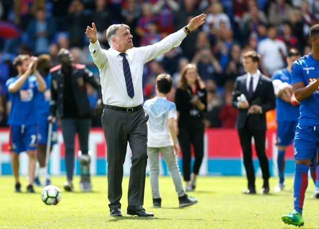 Allardyce applauds the Crystal Palace fans on a lap of appreciation at Selhurst Park