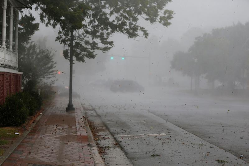 The outer bands of Hurricane Florence hit New Bern on Thursday.